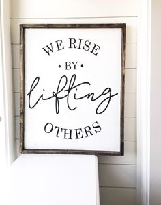 Wood Projects We Rise By Lifting Others- Wood Sign – JaxnBlvd - Hand Painted Wood Sign All Orders Take 2 Weeks To Produce Sign Comes With a Hook to Hang (Attach Yourself) Sign Design is property of Jaxn Blvd LLC copyright 2018