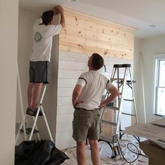 DIY Shiplap Fireplace Wall More. This would be a clean easy DYI for getting rid of the tile fireplace Brick Fireplace Makeover, Shiplap Fireplace, Home Fireplace, Fireplace Remodel, Fireplaces, Farmhouse Fireplace, Plank, Farmhouse Master Bedroom, Living Room Remodel
