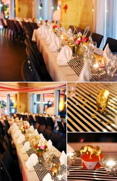 """Grown up"" circus theme: gold spray painted circus animals, vintage gold-finished cans, striped table runner, ranunculus bouquets"