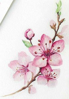 Simple Flower Drawing, Easy Flower Drawings, Beautiful Flower Drawings, Drawing Flowers, Beautiful Paintings Of Flowers, Pink Drawing, Art Paintings, Watercolor Paintings, Tattoo Watercolor