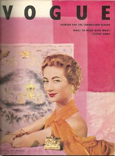Original vintage British Vogue April 1953 Fashion for the Coronation Season Eric Braverman — Magazines Over 60 Fashion, Fashion Mag, Fashion Cover, Vogue Fashion, Pink Fashion, Editorial Fashion, Vintage Vogue Covers, Vogue Magazine Covers, Fifties Fashion