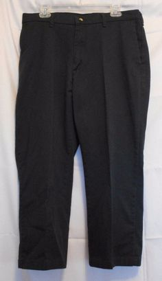 Men Casual Pants Black 36x25 (altered) Cotton Spandex Zip Fly Button Pockets  #Unbranded #CasualLongPants