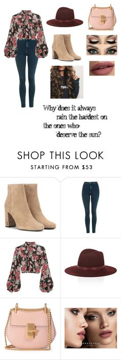 """""""Dance In The Rain"""" by leisure-alexa ❤ liked on Polyvore featuring Yves Saint Laurent, Topshop, Jill Stuart, Janessa Leone, Chloé, Anastasia Beverly Hills and Victoria's Secret"""