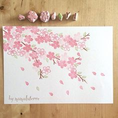 First stamps after long holiday 🌸🌸🌸. Inspiration from Tokyo Cherry blossom. Falling in love with Sakura 😍😍 Diy And Crafts, Arts And Crafts, Paper Crafts, Eraser Stamp, Stamp Carving, Fabric Stamping, Handmade Stamps, Stamp Printing, Flower Cards