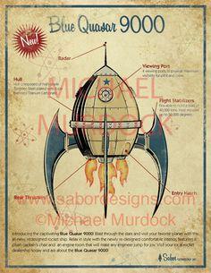 Retro Futuristic, Steampunk Rocket
