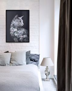 Faunascapes Flower Portraits - Silver Cat #faunascapes #doubleexposure #animalart #artprint #interiordesign #styling