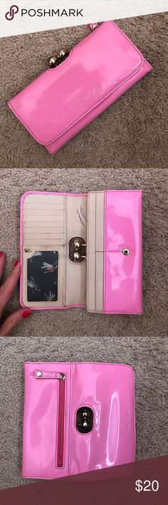 Ted Baker wallet Hot pink ted baker wallet, has pen ink on the inside, French bull dog lining in it, used condition Ted Baker Bags Wallets