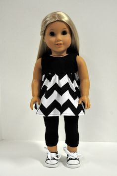 Black and White Chevron Sleeveless Swing Top with Black Leggings 18 Inch Doll Clothes made to fit dolls such as American Girl by CircleCSewing on Etsy