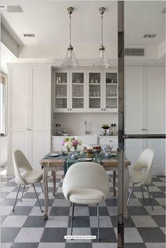 white cabinets, eat in kitchen - Studio All Day Dining Room Design, Kitchen Design, Home Goods Decor, Home Decor, Eat In Kitchen, White Cabinets, Kitchen Flooring, Inspired Homes, Kitchen Interior