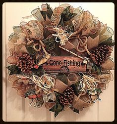 Gone Fishing Deco Mesh Wreath/ Fishing Wreath/Fall Wreath/Autumn Wreath/Cabin Wreath/Outdoors Wreath/Fall Deco Mesh Wreath