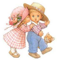Lindasimágenesestilo  cromo  que expresan  ternura  y nos transportan a la infancia .   Este es el arte de  Ruth Morehead  llenos de  ...