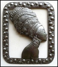 "Metal Wall Hanging, Haitian Art, African Woman - Haitian Steel Drum Metal Art - Metal Wall Art - Ethnic Art - African Art - 20"" x 24"" - W101 by HaitiMetalArt on Etsy"
