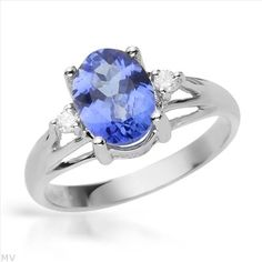 $549.00  Exquisite Brand New Ring With 1.65ctw Precious Stones - Genuine  Clean Diamonds and Tanzanite Well Made in 14K White Gold- Size 7 - Certificate Available.