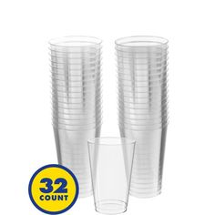 Big Party Pack CLEAR Plastic Tumblers 32ct