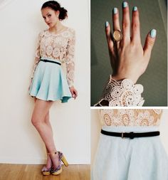 lace top + robin egg blue skirt from Petra Karlsson