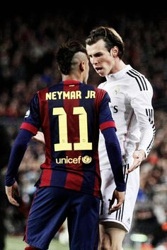 """Barcelona's Neymar argues with Real Madrid's Gareth Bale during a Spanish La Liga soccer match between FC Barcelona and Real Madrid at Camp Nou stadium, in Barcelona, Spain, Sunday, March Madrid Soccer Team, Madrid Football, Soccer World, Neymar Jr, Football Drills, Football Soccer, Lionel Messi, Fc Barcelona, Soccer Information"
