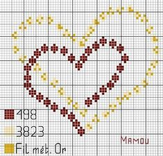 Double hearts x-stitch Wedding Cross Stitch, Cross Stitch Heart, Cross Stitch Cards, Cross Stitch Flowers, Cross Stitching, Cross Stitch Embroidery, Embroidery Patterns, Hand Embroidery, Cross Stitch Designs