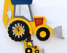Digger JCB Wooden Wall Clock for kids Truck Room, Pendulum Wall Clock, Clock For Kids, Kool Kids, Vintage Marketplace, Digger, Etsy Uk, Home And Living, Minions