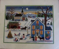 New England Christmas Needlepoint Kit 9045 Dimensions Wysocki Vtg. 1984 New USA #Dimensions