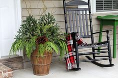 Outdoor Christmas Planters, Christmas Porch, Christmas Greenery, Christmas Flowers, Outdoor Planters, Christmas 2016, Christmas Stuff, Christmas Time, Vintage Christmas