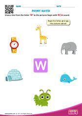 Phonic Match W Preschool Phonics, Learning Phonics, Toddler Learning Activities, Teaching Kindergarten, Preschool Worksheets, Kids Learning, Letter S Worksheets, Nursery Worksheets, Alphabet Worksheets