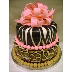 Animal Print 50th Birthday cake ❤ liked on Polyvore featuring food