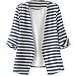 Blue And White Stripes Roll Up Sleeve Slim Blazer