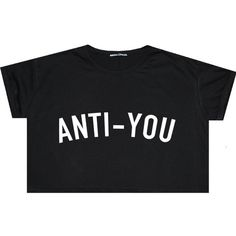 Anti You Pizza Crop Top T Shirt Tee Womens Girl Funny Fun Tumblr... (£9.15) ❤ liked on Polyvore featuring tops, t-shirts, shirts, crop tops, black, sweaters, sweater vests, women's clothing, sweater vest and loose crop top