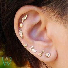 Diamond Heart Earring Stud Earrings Cartilage Earring Helix Earring Gold Earrings Snap Back Earrings Gift for Her WishWhim Ear piercings Arrow Earrings, Helix Earrings, Cartilage Earrings, Crystal Earrings, Diamond Earrings, Stud Earrings, Cartilage Stud, Diamond Jewelry, Circle Earrings