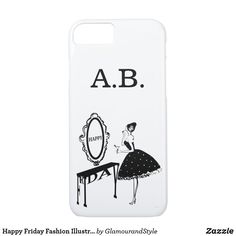 Happy Friday Fashion Illustraton iPhone 8/7 Case Personalized Buttons, Fashion Illustration Vintage, Happy Words, Cocktail Glass, White Fashion, Happy Friday, Creative Business, Iphone Case Covers, Iphone 8