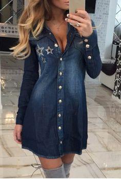 Fashionable Shirt Collar Long Sleeve Single-Breasted Stars Pattern Denim Dress For Women