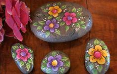 Painted flower garden rocks set of 4 floral stones plant
