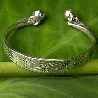 Sterling silver cuff bracelet, 'Sterling Balance'