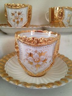 Anyique Tea Cups and Saucers- Set of 4- Raised Heavy Gold Encrusted