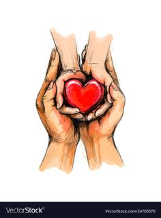 Adult and child hands holding red heart health vector image on VectorStock Art And Illustration, Love Heart Illustration, Pencil Art Drawings, Cute Drawings, Illustrator Ai, World Heart Day, Health Day, Heart Health, Art Rules