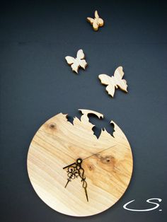 Wooden Walnut Wall Modern Clock with Butterflies by svetll79