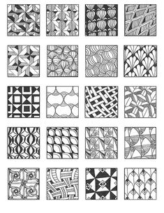 Zentangle - Inspiration Page Zentangle Drawings, Doodles Zentangles, Zentangle Patterns, Doodle Drawings, Doodle Art, Zen Doodle Patterns, Cool Patterns, Tangle Doodle, Tangle Art