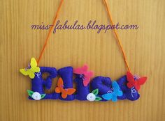 Baby name felt BUTTERFLIES & FLOWERS  - Nombre bebe fieltro MARIPOSAS & FLORES