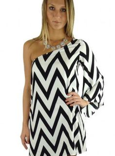 Multi Cocktail Dress - Black and White Striped One