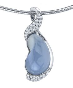 Teardrop Blue Chalcedony Pendant (Blue chalcedony pendant accented with 0.88ctw of white diamonds.  This one-of-a-kind piece is currently in stock in 14k white gold.) - Mark Schneider Design