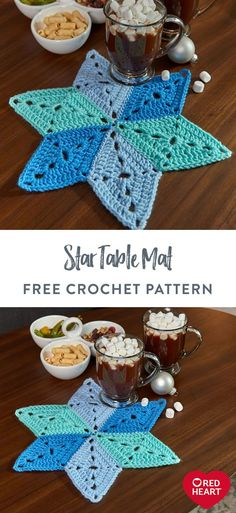 Star Table Mat free crochet pattern in Red Heart Super Saver yarn. Ideal for Hanukkah entertaining or any winter event, this crochet star mat keeps furniture protected from nicks and scratches. It's easy to crochet in shades of Red Heart Super Saver, whether completing as shown or stitching with a different trio of colors that spark your imagination. It adds a warm, homemade touch to any table setting. Diy Resin Crafts, Easy Diy Crafts, Diy Craft Projects, Crochet Projects, Yarn Projects, Paper Crafts, Easy Crochet Patterns, Free Crochet, Crochet Ideas