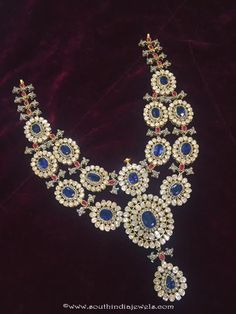 Uncut Diamond Necklace latest jewelry designs - Page 2 of 111 - Indian Jewellery Designs Blue Sapphire Necklace, Sapphire Jewelry, Diamond Pendant Necklace, Diamond Jewellery, Diamond Necklaces, Pearl Necklace, Amrapali Jewellery, Fancy Jewellery, Uncut Diamond