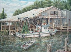 Paintings of Boats and Docks | Modern Art Watercolor, Acrylic, and Oil Paintings: Shrimp boat