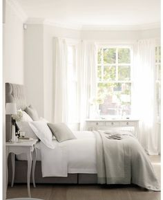 Bedroom, white, grey