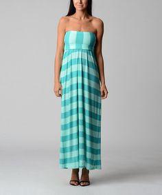 Look what I found on #zulily! Turquoise & Green Stripe Strapless Maxi Dress #zulilyfinds