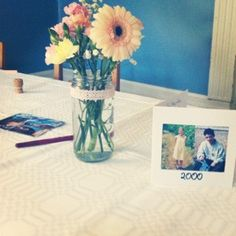 Table numbers with years & mason flower jars