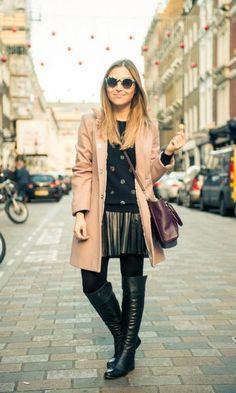Look da Lu: casaco rosa e saia de couro