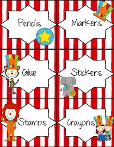 Circus Theme Classroom Labels