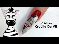 3D Disney | Cruella DeVille Acrylic Nail Art Tutorial - http://www.nailtech6.com/3d-disney-cruella-deville-acrylic-nail-art-tutorial/