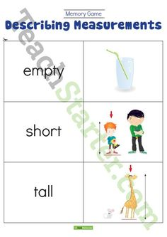 Teaching Resource: A memory game to play in the classroom when developing suitable language to describe different measurements.